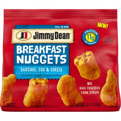 Jimmy Dean® Breakfast Nuggets deliver a fun, new twist on a nostalgic family favorite, now for breakfast. Available in two delicious varieties: Sausage, Egg & Cheese and Chicken Sausage, Egg & Cheese