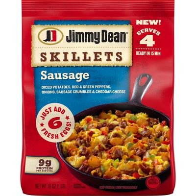Jimmy Dean® Skillets provide a new take on a breakfast staple, delivering a savory, breakfast classic in two delicious varieties: Sausage and new Meat Lovers