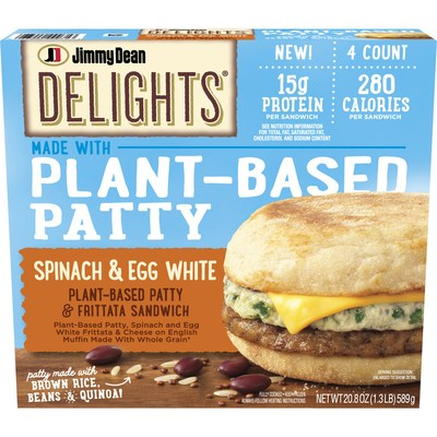 Jimmy Dean Delights® Plant-Based Patty & Frittata Sandwich features a vegetable and grain patty made of soy protein, black beans, brown rice, quinoa, and egg white topped with a spinach and egg white frittata and American cheese, all inside a whole wheat English muffin