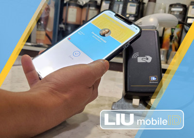 A MyLIU Mobile Card user scans their digital ID at a campus store using Apple Wallet.