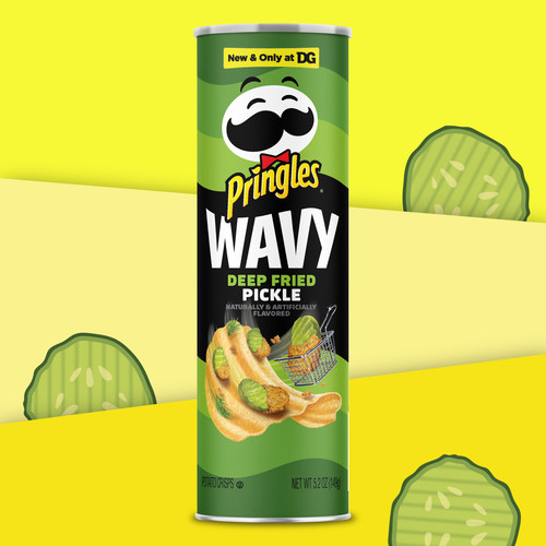 New Limited-Edition Pringles Wavy Deep Fried Pickle, available only at Dollar General
