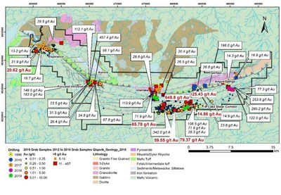 Figure 1 Gold -bearing surface of Grab Samples on Qiqavik. Note that grab samples are selective by nature and values reported may not be representative of mineralized zones (CNW Group/Orford Mining Corporation)