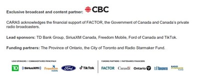 Exclusive broadcast and content partner / Lead sponsors / Funding partners (CNW Group/Canada Post)