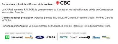 Partenaire exclusif de diffusion et de contenu / Commanditaires principaux / Partenaires financiers (Groupe CNW/Postes Canada)