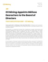 O3 Mining Appoints Mélissa Desrochers to the Board of Directors...