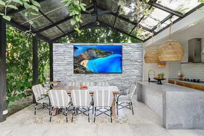 Neptune Shade Series Outdoor TVs can be easily installed in backyards, patios, outdoor kitchens, pool areas, and more bringing an all-season solution for year-round outdoor living.