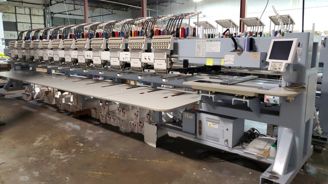 Other assets up for bid include this 2016 Barudan 12-head, 15-needle embroidery machine.