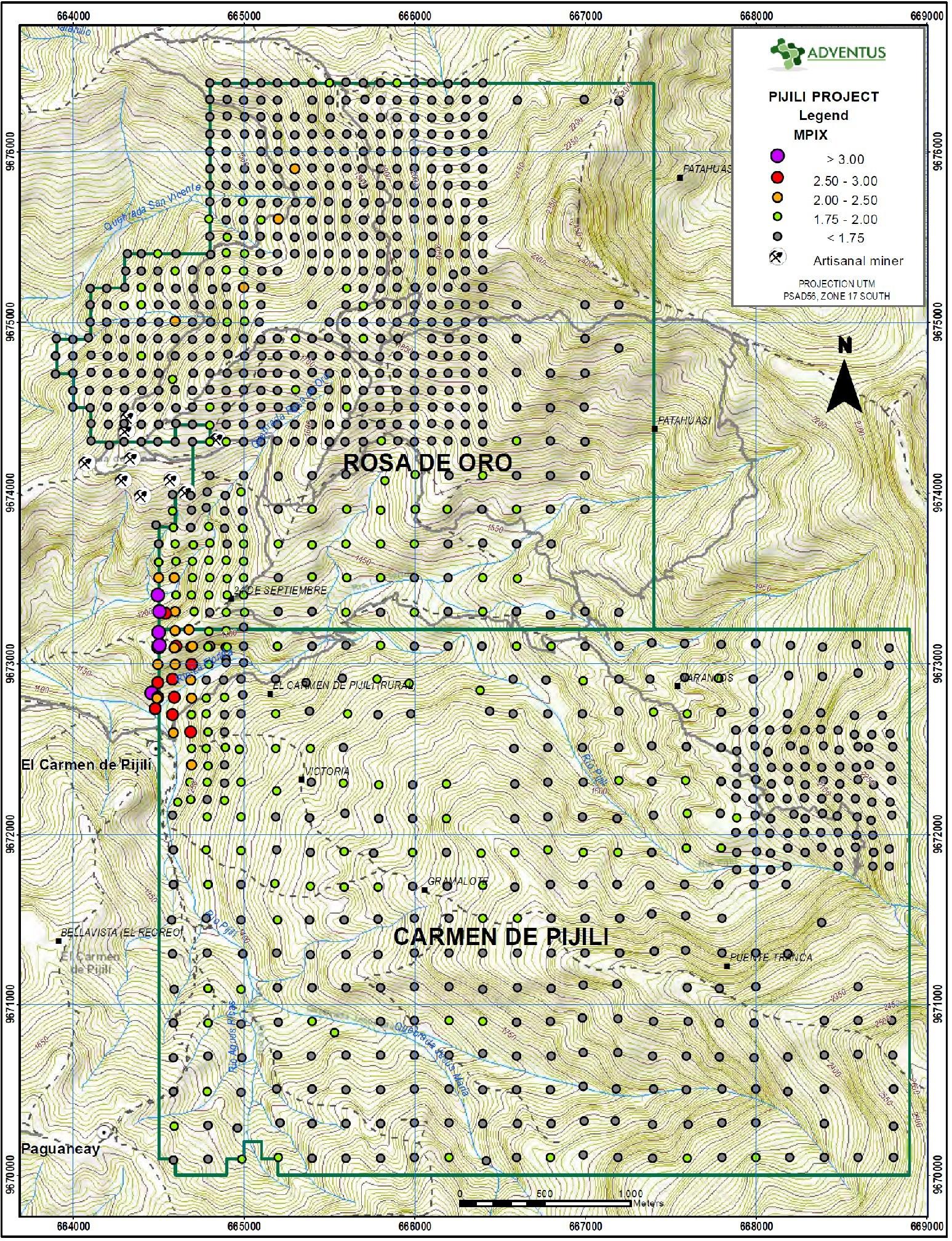 Figure 7: Surficial Soil Sample Map (MPIx ratio) (CNW Group/Adventus Mining Corporation)