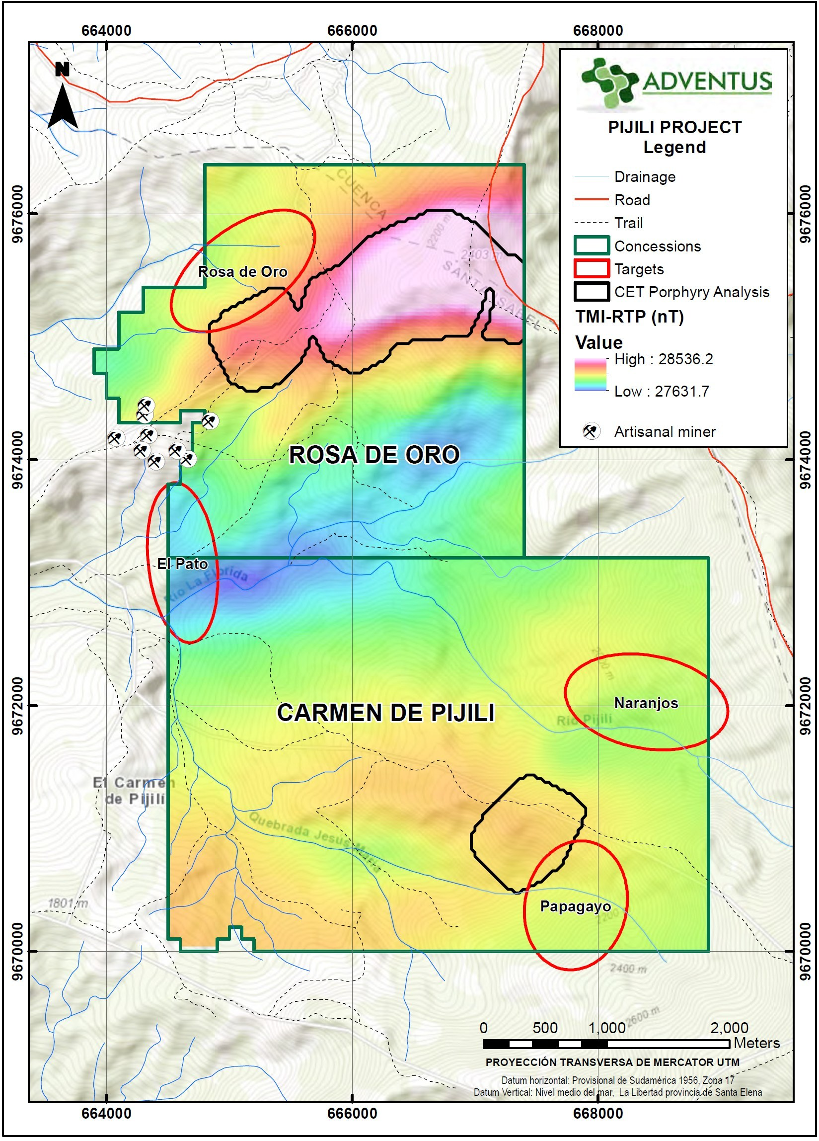 Figure 8: TMI-RTP Airborne Geophysical Map (CET anomaly picks) (CNW Group/Adventus Mining Corporation)