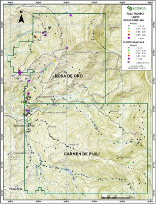 Figure 3: Prospecting Grab and Float Rock Sample Map (Gold values) (CNW Group/Adventus Mining Corporation)