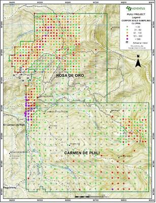 Figure 4: Surficial Soil Sample Map (Copper values) (CNW Group/Adventus Mining Corporation)