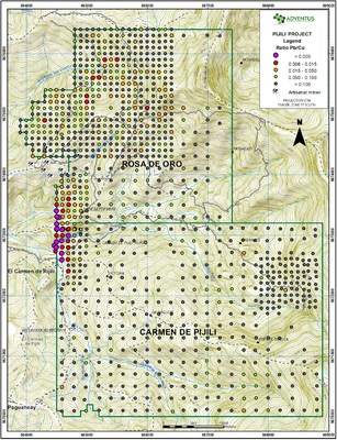 Figure 6: Surficial Soil Sample Map (Pb/Cu ratio) (CNW Group/Adventus Mining Corporation)