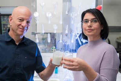 Prof. Raz Jelinek and Ms. Orit Malka with their unique probiotic yogurt at Ben-Gurion University laboratory (Credit: Dani Machlis) (PRNewsfoto/BGN Technologies)