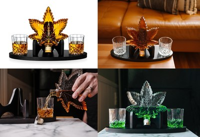 Featuring a design reminiscent of Cannabis indica, the Decanter holds 25-ounces of your favorite liquor or wine, and is accompanied by two 7-ounce crystal tumblers, a sturdy black base stand, and a complementary funnel for convenient filling.