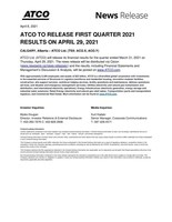 ATCO to Release First Quarter 2021 Results on April 29, 2021 (CNW Group/ATCO Ltd.)