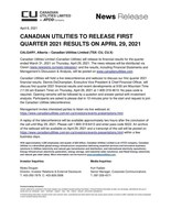 Canadian Utilities to Release First Quarter 2021 Results on April 29, 2021 (CNW Group/Canadian Utilities Limited)