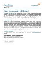 Keyera Announces April 2021 Dividend (CNW Group/Keyera Corp.)