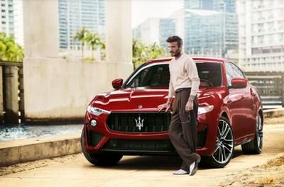 Maserati e David Beckham (retratado com 2021 Maserati Levante Trofeo) (PRNewsfoto/Maserati)