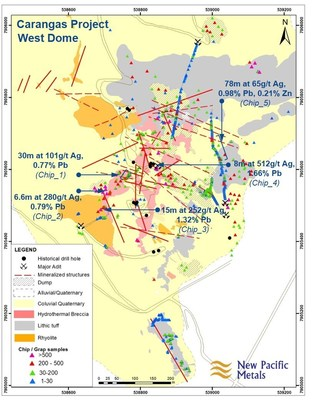 Figure 4: Geology Map of West Dome, Carangas Project, Bolivia, including Sample Results (CNW Group/New Pacific Metals Corp.)