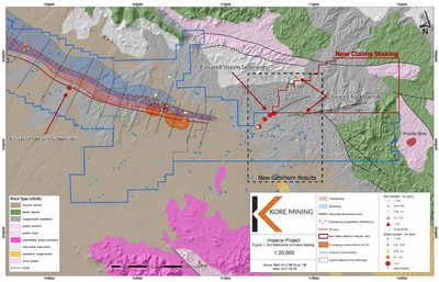 """FIGURE 1: DRY STREAM / """"ARROYO"""" SAMPLING - GOLD ANOMALY MAP (CNW Group/Kore Mining)"""