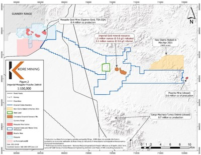 FIGURE 2: IMPERIAL GOLD PROJECT CLAIMS MAP (CNW Group/Kore Mining)