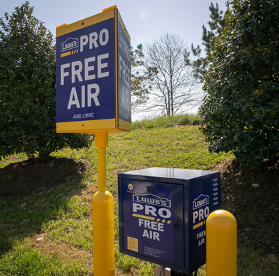 Lowe's Enhanced Pro Shopping Experience – The new Pro shopping experience will include Free Air Stations to fill up tires and portable air tanks for pneumatic tools.