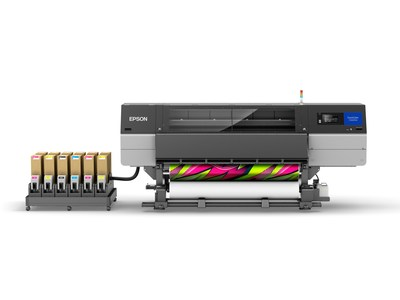 Epson's new SureColor F10070H 76-inch industrial-level dye-sublimation printer delivers round-the-clock productivity and offers multiple ink configurations, including Light Cyan and Light Magenta or Fluorescent Pink and Fluorescent Yellow, enabling shops to deliver bright and vivid customized apparel, décor and novelty goods.