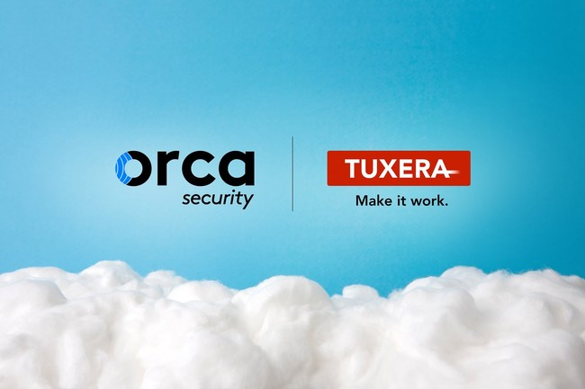 Orca Security and Tuxera logos in blue sky over white clouds