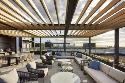 Rooftop with two communal lounge areas and the west coast's largest rooftop farm