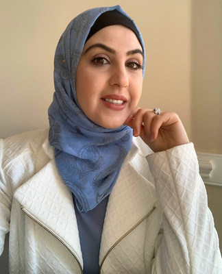 St. Jude patient mom Linda, in the St. Jude-inspired hijab, is grateful that her family's journey brought them to St. Jude Children's Research Hospital. Her family traveled from Syria to Jordan and then to the United States, where their young son, Farouk, was treated for eye cancer at St. Jude.