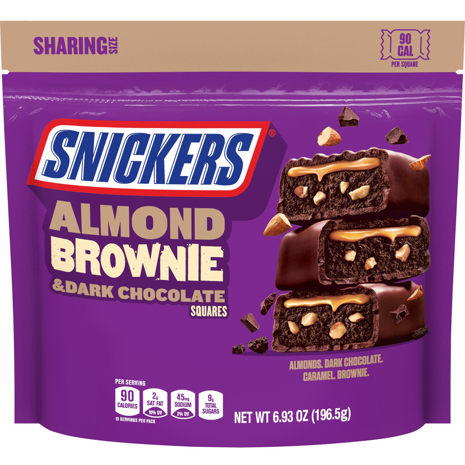 SNICKERS® Almond Brownie will hit shelves nationwide August 2021 in Single (1.26 ounces), Share (2.52 ounces) and Sharing Stand Up Pouch (6.93 ounces) sizes. The bars feature a chewy brownie filling, mixed with chopped almonds and topped with a layer of luscious caramel, all coated in dark chocolate.