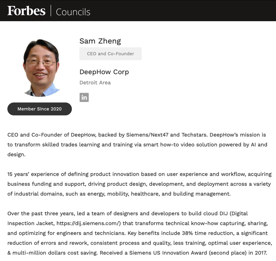 Dr. Zheng, an expert in the application of AI to accelerate workforce readiness, will contribute best practices on how manufacturing and field-service organizations can equip their workforces to thrive in an increasingly technology-driven workplace.