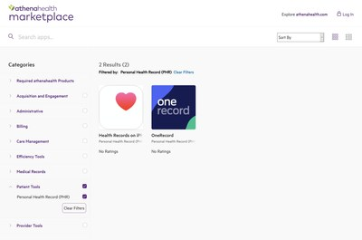 OneRecord is 1 of only 2 apps within the Personal Health Record (PHR) Category on athenahealth's Marketplace