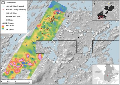 Figure 1 Drill Collar Locations and 2021 3D Induced Polarization (IP) results over the Regnault Target Area (CNW Group/Kenorland Minerals Ltd.)