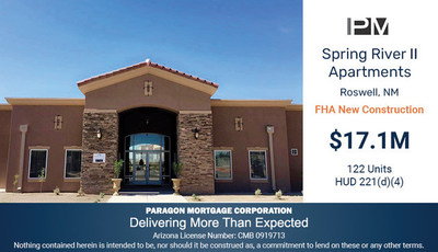 Paragon Mortgage Corporation Arranges $17.1M HUD 221(d)(4) New Construction Loan for Multifamily Property located in Roswell, New Mexico