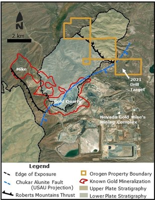 Figure 3 - Geologic map of the Maggie Creek project showing the areas proposed for 2021 drilling (CNW Group/Orogen Royalties Inc.)