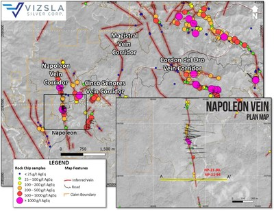 Figure 4: Plan map showing location of drill holes, mapped veins and surface sampling at the Napoleon zone on the Napoleon Vein Corridor.  Labels shown for reported holes.  Inset shows detail of Napoleon's drill collar locations (CNW Group/Vizsla Silver Corp.)