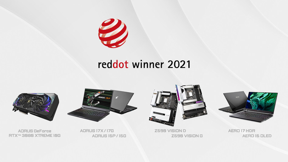 GIGABYTE Wins Big at Red Dot Design Awards 2021; All GIGABYTE nominations win out in their category