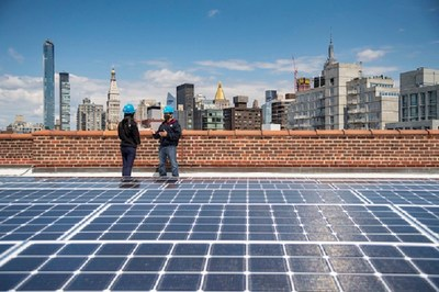 Con Edison workers at a solar installation at Peter Cooper Village in Manhattan.