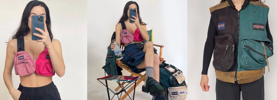"""""""My love for JanSport has only grown over the years. It's my earliest backpack memory, so to work with them on this capsule collection using samples and worn pieces to highlight sustainability feels predestined,"""" said McLaughlin."""