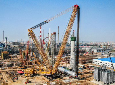 Crane Capacity Record Breaker: XCMG Crawler Crane XGC88000 Completes Installation of 2600-ton Hydrogenation Reactor in China 10 Days Ahead of Schedule.