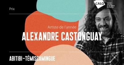 Alexandre Castonguay reçoit le Prix du CALQ - Artiste de l'année en Abitibi-Témiscamingue. crédit :Christian Leduc (Groupe CNW/Conseil des arts et des lettres du Québec)