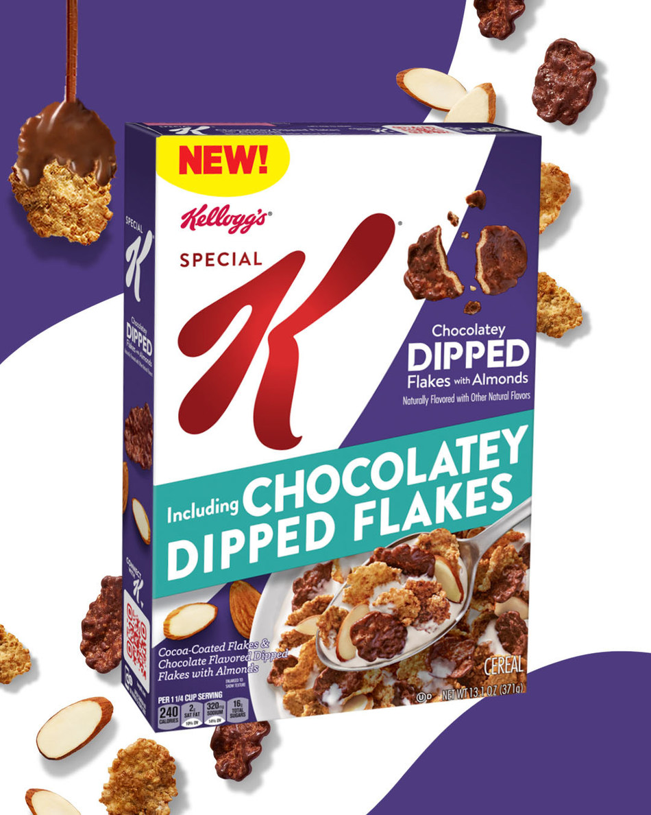 Kellogg's® Special K® is helping cereal fans find the perfect bite of deliciousness this April with new Kellogg's® Special K® Dipped Chocolatey Almond, featuring the brand's first-ever chocolatey dipped cereal flakes in the U.S. market. (Credit: Kellogg Company)
