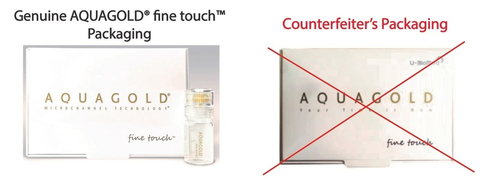 Original AQUAGOLD® fine touch™ with Aquavit's original trademark vs. Counterfeiter U-BioMed's fake Aquagold Packaging with the now-invalid trademark