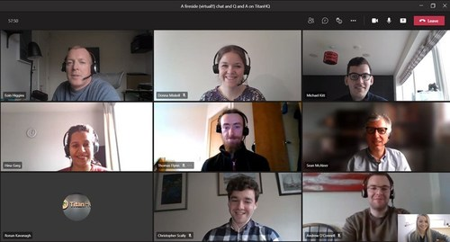 Photographed [L-R] at TitanHQ's Virtual Fireside Chat and Q&A session with Ronan Kavanagh, CEO, is Eoin Higgins, Donna Miskell, Michale Kitt, Hina Garg, Thomas Flynn, Ronan Kavanagh, Christopher Scally, Andrew O'Connell, and Gina McGrath.