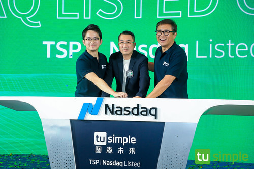Sky9 team with TuSimple co-founder Mo Chen at TuSimple IPO event. From left to right: David Liu, Vice President of Sky9 Capital, Mo Chen, Co-founder and Executive Chairman of TuSimple, and Ron Cao, Founder and Partner of Sky9 Capital.