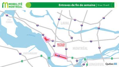 Carte générale des entraves, fin de semaine du 16 avril (Groupe CNW/Ministère des Transports)