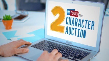 My Plates 2-Character License Plate auction Online now through May 26th!