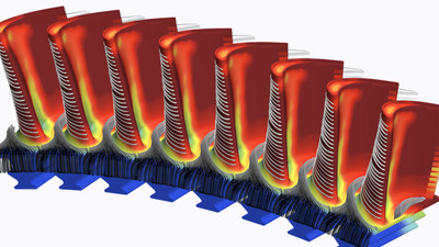 Siemens Energy can use Simcenter STAR-CCM+ software to visualize metal temperatures in a turbine blade, predicted using conjugate heat transfer simulation.