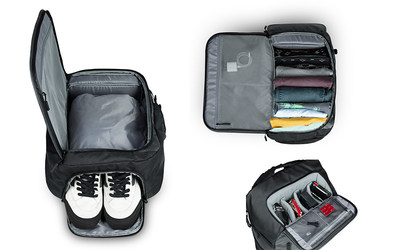 The GoPro 30L Weekender Backpack is a versatile, weather-resistant backpack featuring customizable padded storage sectionals, a side-loading protective pouch that fits up to a 15-inch laptop and a built-in GoPro shoulder mount. For longer adventures, the Weekender includes a hidden pocket for valuables and a collapsible compartment, perfect for storing a pair of shoes or a weekend's worth of dirty laundry. Weekender retails for $129.99 ($90.99 for GoPro Subscribers).